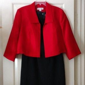 Kasper Sheath Black Dress w/Red Jacket
